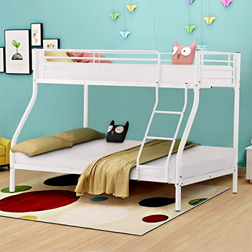 Costzon Twin Over Full Metal Bed, Twin Cot with Ladder and Safety Rails, Sturdy Metal Bunk Frame, White