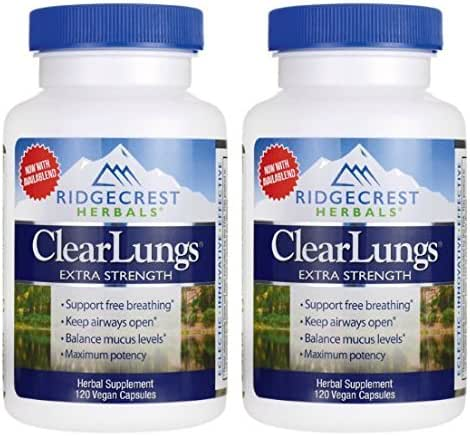 Ridgecrest Herbals ClearLungs Extra Strength (Pack of 2) with Chinese Asparagus Root, White Mulberry Root Bark, and Availablend® Bioavailability Complex, 120 capsules per bottle