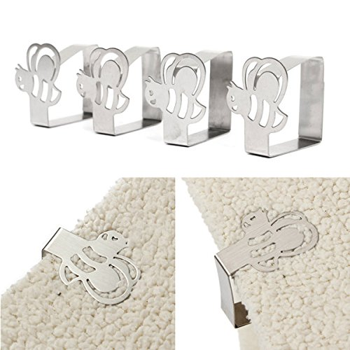 Bazaar 4pcs Stainless Steel Bee Tablecloth Clips Table Co...