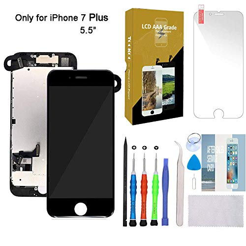 "for iPhone 7 Plus Screen Replacement 5.5"" Black LCD Display with 3D Touch Screen Digitizer Full Assembly + Front Camera + Earpiece + Free Screen Protector + Repair Tools Kit (Black)"