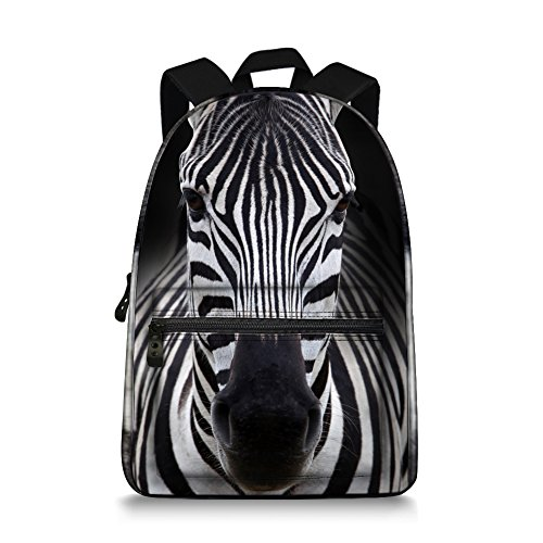 JeremySport 15 Inch Canvas 3D Animal Face Zebra Back for sale  Delivered anywhere in USA