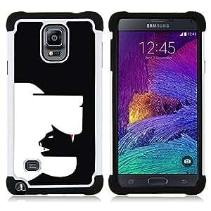For Samsung Galaxy Note 4 SM-N910 N910 - clever modern cat dog art in yang black Dual Layer caso de Shell HUELGA Impacto pata de cabra con im????genes gr????ficas Steam - Funny Shop -