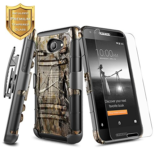 Alcatel Zip LTE A577VL A576BL Case, Alcatel A30 Case, Alcatel Kora Case with [Tempered Glass Screen Protector], NageBee [Heavy Duty] Shock Proof [Belt Clip] Holster [Kickstand] Combo Case (Camo)