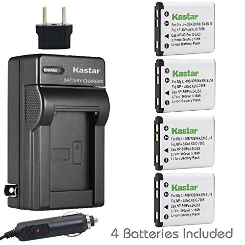 - Kastar Battery 4-Pack and Charger for Fujifilm NP-45 NP-45A NP-45B NP-45S, Fujifilm FinePix L55 L90, FinePix T305 T310 T350 T360 T400, FinePix XP10 XP11 XP15 XP20 XP21, FinePix Z37 Z70 Z71 Z80 Z81 Z90