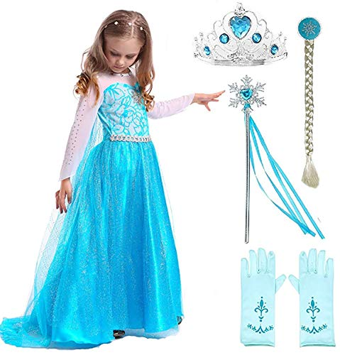 SweetNicole Snow Queen Elsa Princess Party Dress Costume with Accessories (4-5)