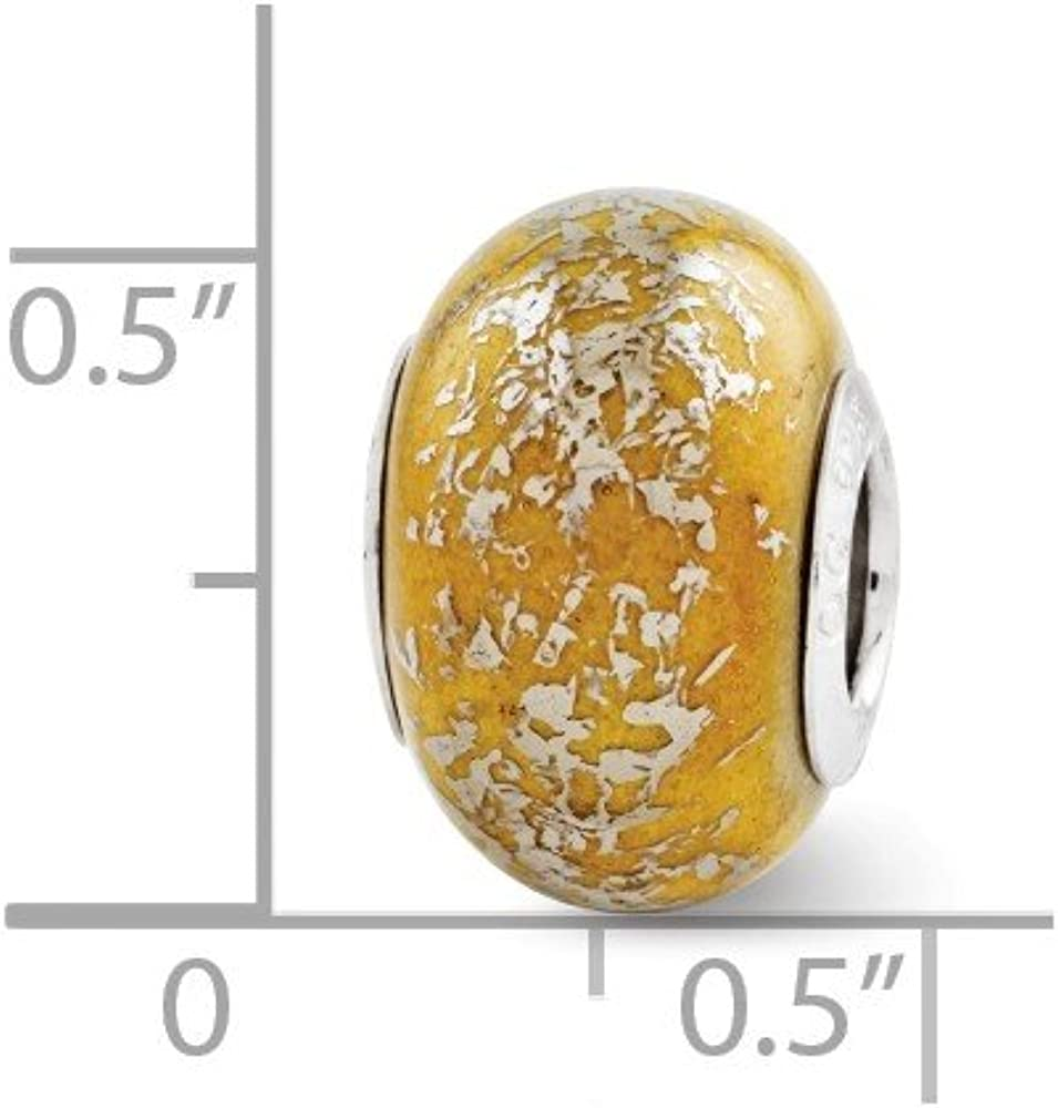 Beautiful Sterling Silver Reflections Yellow w//Platinum Foil Ceramic Bead