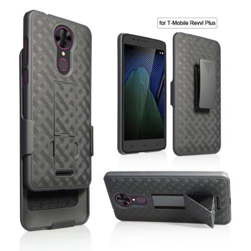 T-Mobile REVVL Plus Case, Coolpad REVVL Plus Case, Belt Clip Holster Cover Shell Kickstand Criss Cross Black New Plaid Design For T-Mobile REVVL Plus , Coolpad REVVL Plus