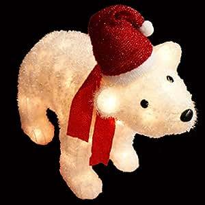"36"" Lighted Red and White Sisal Polar Bear Christmas Yard Art Decoration"