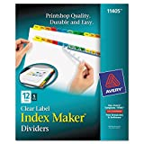 Avery Print & Apply Clear Label Tab Dividers, Index Maker, 12-Tab Divider Set, 5 sets, Multicolor Tabs (11405)