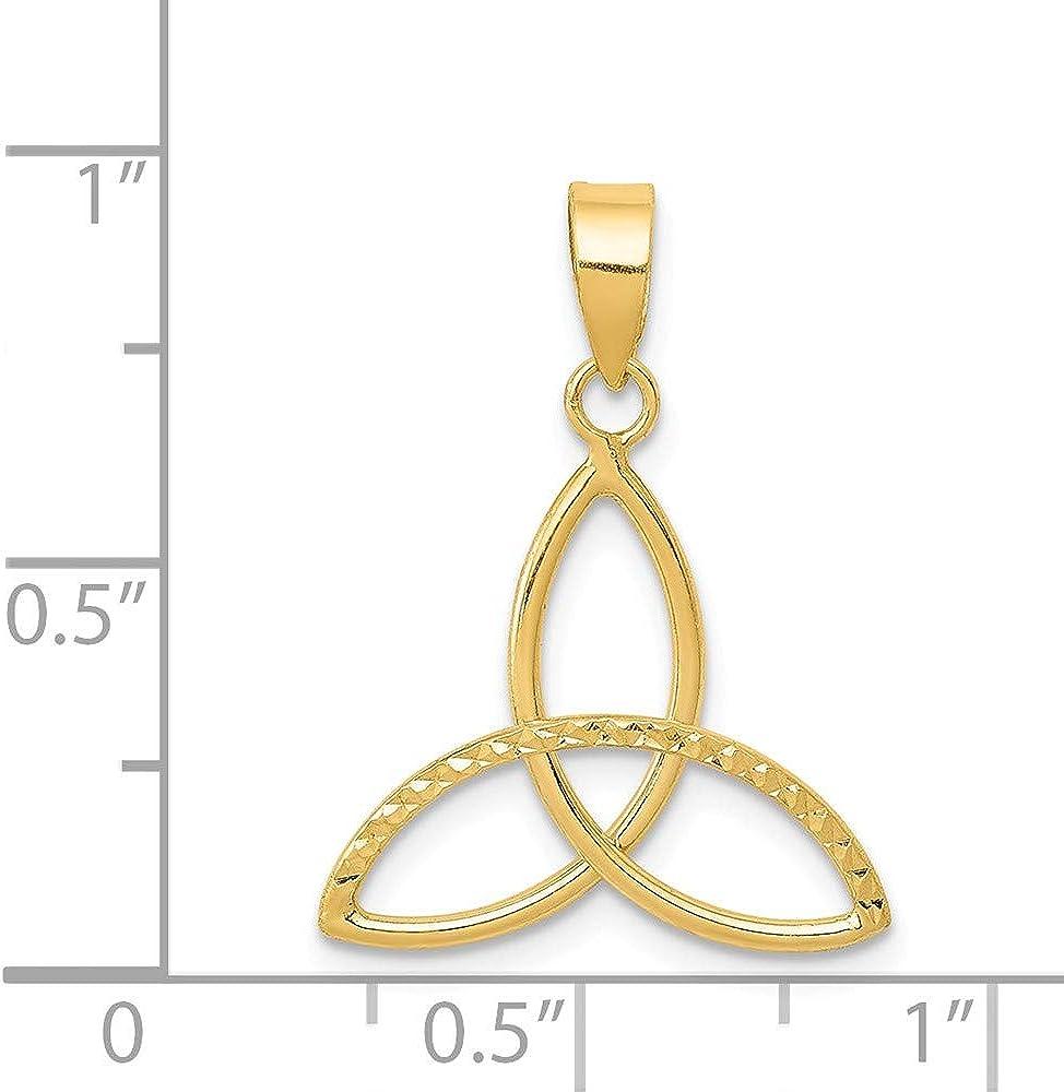 Solid 14k Yellow Gold 3 Point Diamond-Cut Open Star Pendant Charm
