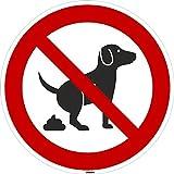 Kleberio Plaque ronde d'interdiction 20cm, interdit aux chiens de faire leurs besoins ici, plaque ronde solide en aluminium