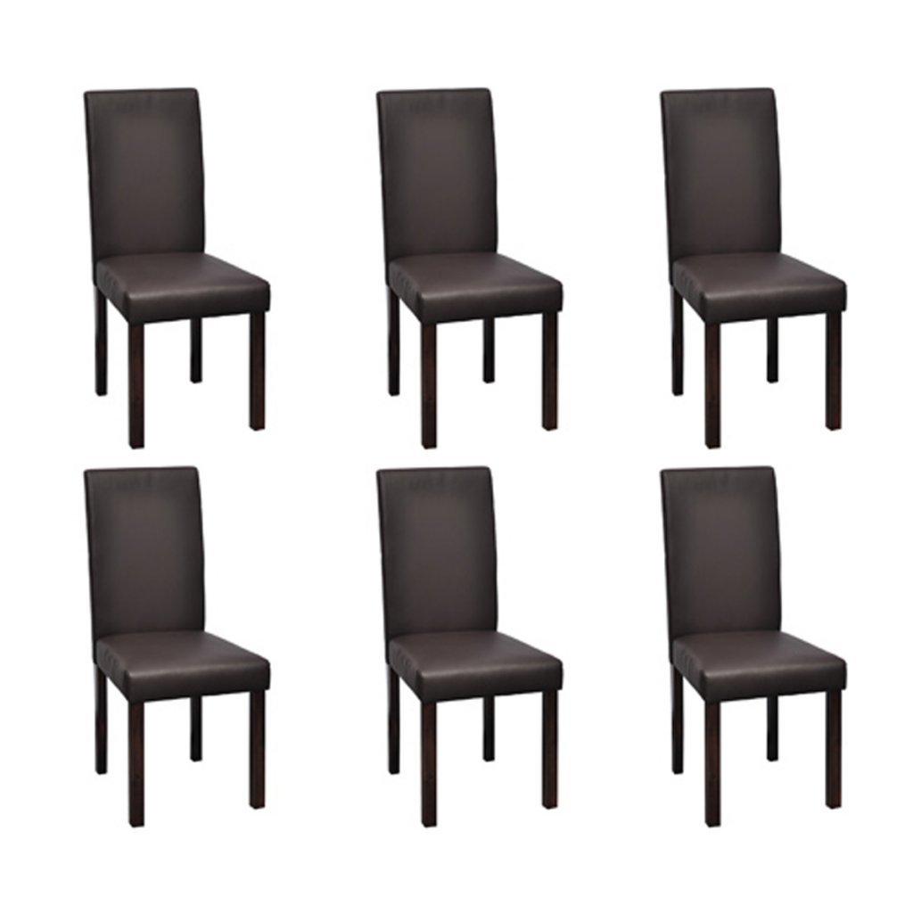 Lot de 6 chaises de salle à manger en simili cuir marron chocolat ...
