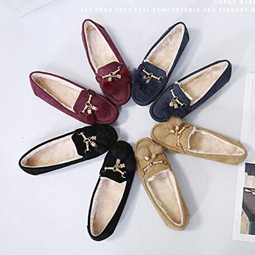 Tantisy ♣↭♣ Girls Soft Cotton Warm Shoes Baby Cute Bow Pea Boots Ladies Casual Tassel Flats Shoes Beige by Tantisy ♣↭♣ (Image #5)