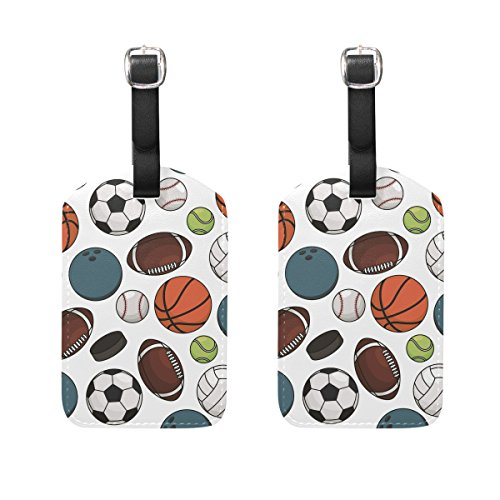 Basketball Luggage Tag - Set of 2 Luggage Tags Football Basketball Baseball Suitcase Labels Travel Accessories