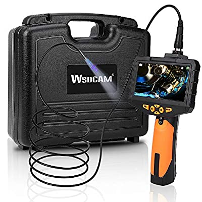 Wsdcam Endoscope Inspection Camera 4.3inch LCD Screen Flexible 0.216inch Snake Camera 9.84ft, Including 16G SD Card, Wall/Automotive/Sewer/Drain/Plumbing/Pipe Borescope Inspection Camera with Light