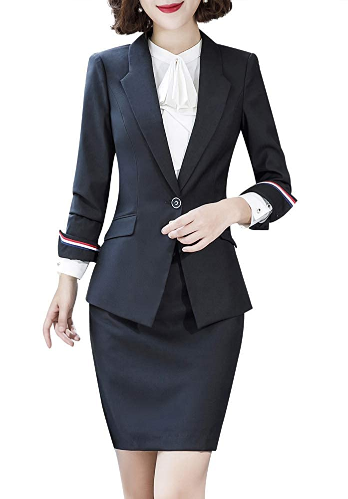 Black01 LISUEYNE Women's Formal One Button Slim Blazer Suit Office Work Blazer Jacket&Pant Skirt