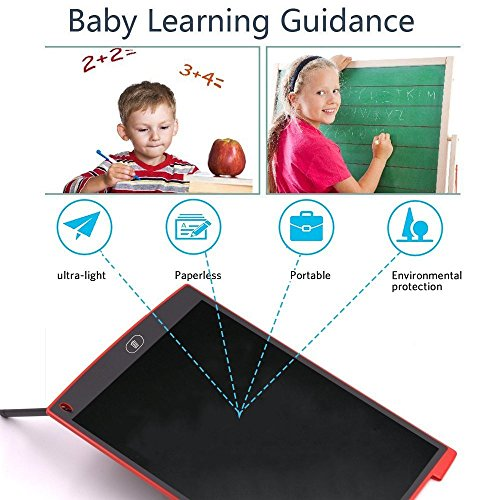 8.5 inch Smart Writing Pad, Teetox Liquid Crystal Drawing Board Children's Learning Board Electronic Graffiti Board, The For Children (Red) by Teetox (Image #6)