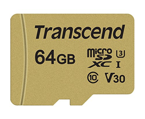 Transcend TS64GUSD500S 64GB UHS-I U3 MicroSD Memory Card with Adapter
