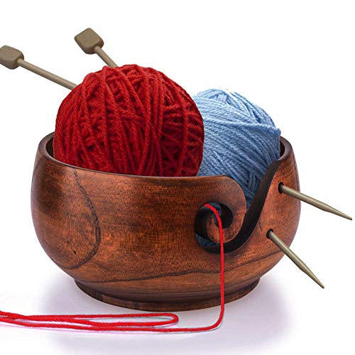 Wooden Yarn Bowl,Handmade Yarn Storage Bowl for Knitting Crochet,Home Needlework Yarn Holder with Removable Lid Knitting Accessories Kit for Women,6.3 x 2.7 inch