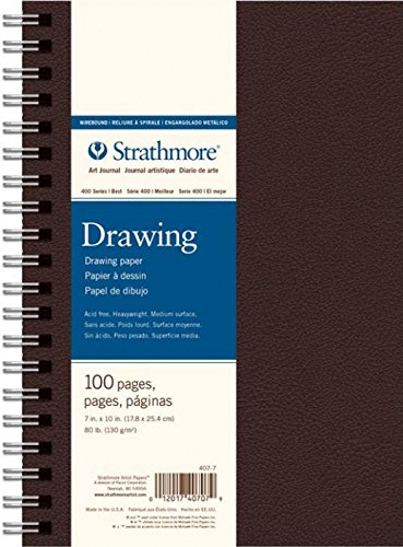 Strathmore 400 Series Art Drawing Journal, 7''x10'' Wire Bound, Black, 50 Sheets by Strathmore