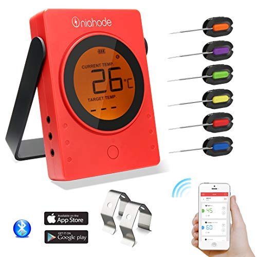 Barbecue Meat Thermometer Wireless Bluetooth Wifi BBQ LCD Remote Digital Grill Food Cooking Thermometer with 6 Probes 2 Holder Clip for BBQ Smoker Cooker Support IOS and Android Phone (Red)