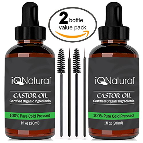Organic Castor Oil - 100% USDA Certified Pure Cold Pressed - Boost Growth For Eyelashes, Hair, Eyebrows, Face and Skin - with Treatment Applicator Kit 1oz (30ml) ((2 Pack) 1oz each CASTER)
