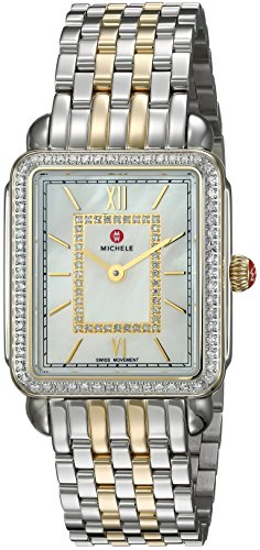 MICHELE Women's Deco II Two-Tone Stainless-Steel Swiss-Quartz Watch with Strap, 16 (Model: MWW06I000004)