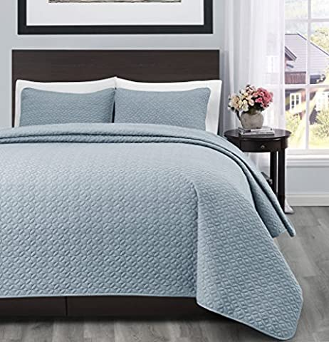 Cozy Beddings S1604-3K Allyson 3Pc Quilted Coverlet,Stone Blue,King