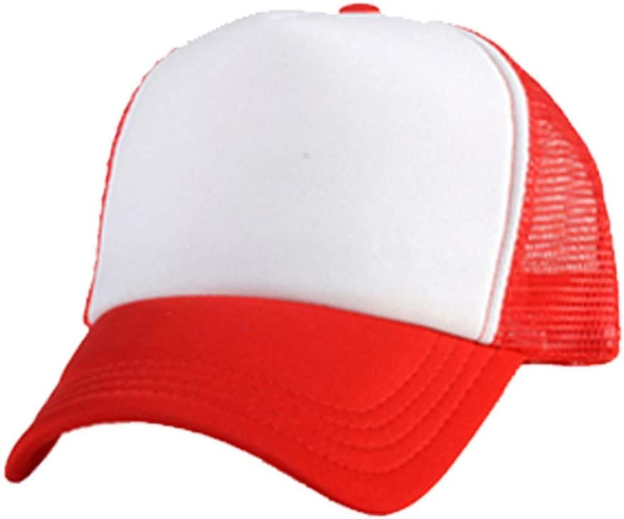 10pcs Polyester Mesh Cap Sublimation Blank Mesh Hat Adjustable Unisex Adult Trucker Caps Hat for Sublimation Printing Custom Red