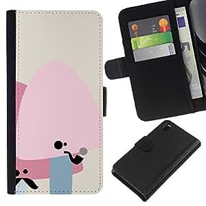 Sony Xperia Z3 D6603 - Dibujo PU billetera de cuero Funda Case Caso de la piel de la bolsa protectora Para (Cute Moustache Mushrooms)