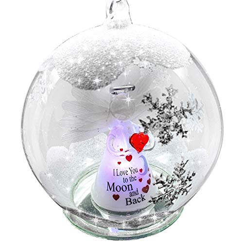 BANBERRY DESIGNS Love You to The Moon and Back Ornaments - LED Lighted Glass Christmas Ornament - Light Up Globe with I Love You to The Moon and Back Angel Inside -