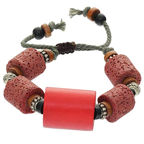 - BRLTime Cylinder Wooden Lava Gemstone Loose Beads Well Polished Stone Strand Bracelet Handmade Healing Rock Prayer Wristwear Jewellery Womens Girls