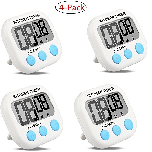4-Pack Countdown Timer Kitchen Timer Cooking Timer Digital Timer Clock Timer with Large Screen Magnet for Kitchen Cooking Baking Sports Games Office (4-Pack) - Cooks Club Digital Timer