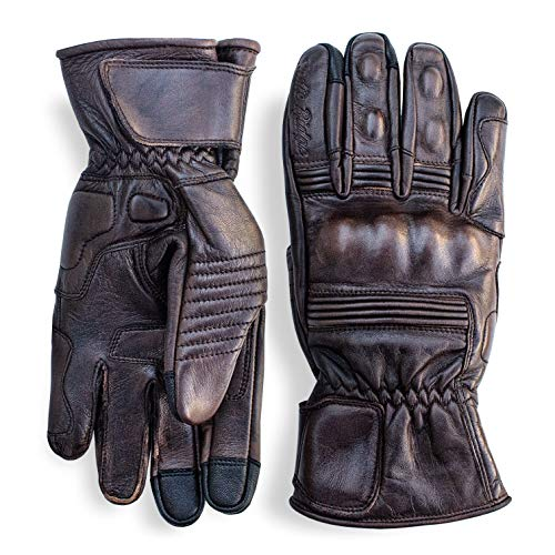 Premium Leather Motorcycle Gloves (Brown) Cool, Comfortable Riding Protection, Full Gauntlet with Mobile Touchscreen Fingers (Large)