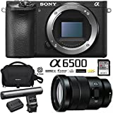Sony ILCE-6500 a6500 4K Mirrorless Camera Body w/APS-C Sensor (Black) + E PZ 18-105mm f/4 G OSS Power Zoom Lens + Gun Zoom Microphone + 64GB Memory Card + Soft Carrying Case + Replacement Battery