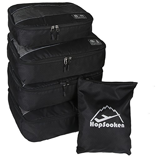 5pc Packing Cubes Set Large Travel Luggage Organizer 4 Cubes 1 Laundry Pouch Bag (Black)