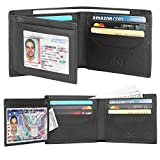 Wallets for Men - RFID Blocking Trifold Genuine Leather Wallet With 2 ID Window (Tan Black)