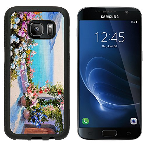 Msd Premium Samsung Galaxy S7 Aluminum Backplate Bumper Snap Case Oil Painting House Near Sea Design Field Floral Flower Image 35891111