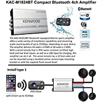Kenwood KAC-M1824BT Bluetooth Enabled Amplifier with 2 Pair of 6.5 3 Way Speakers KFC-1695PS