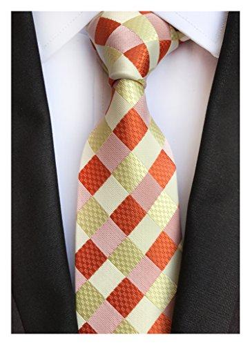 Mens Narrow Orange Yellow Woven Silk Tie Regular Soft Business Work Boys (Orange Silk Narrow Ties)
