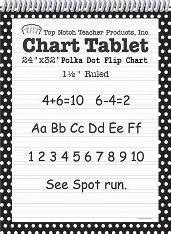 5 Pack TOP NOTCH TEACHER PRODUCTS POLKA DOT CHART TABLET BLACK 1.5 by Educator's Resources