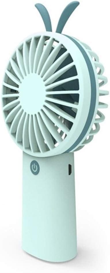Air Cooler Mini Handheld Fan USB Charging Pocket Portable Small Fan Cute 3 Gear Wind Seven Leaves Electric Fan Color : Blue