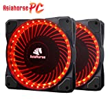 Asiahorse Solar Eclipse MIRAGE 32LED 120mm Cooling PC Compute custom Quiet case fan 2PACK(RED)