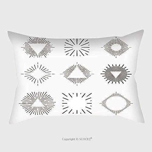 Custom Microfiber Pillowcase Protector Tribal Boho Style Retro Sun Burst Shapes Vintage Light Starburst Logo Labels Badges Sunburst 397285129 Pillow Case Covers Decorative