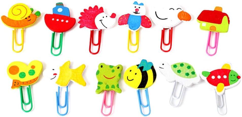 Tomaibaby 48 Piezas Mini Clip de Madera N/áutico Marcadores de Animales Pin Dibujos Animados de Animales Artesanales Clips de Papel Marcadores de Animales Pin para Estudiantes Chica
