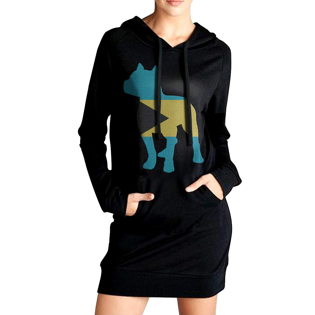 ADA/&KGH Womens Sports Sweatshirt Long Hoodies Dress Patriotic Pitbull Bahamas Flag Sweater with Kanga Pocket