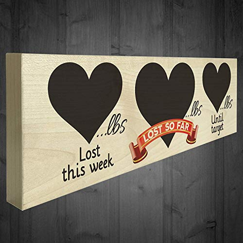 Cheyan New Diet Weight Loss Record Wooden Plaque Progress Chalkboard Sign Dieting Slimming Aid