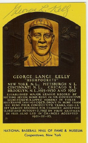 George Kelly Autographed Hall Of Fame Plaque - Autographed MLB Photos
