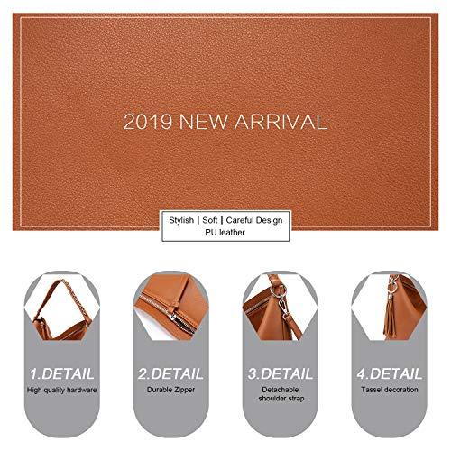 LOVEVOOK Sacs à main femme grand sac à bandoulière en simili cuir sac à bandoulière avec glands designer sac hobo lot de 2 petit sac cosmétique Marron