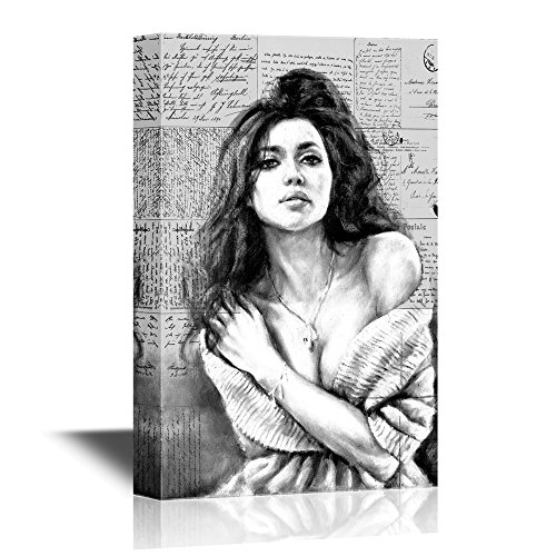 Black and White Sexy Girl on Vintage Letters Background